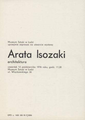 [Zaproszenie] Arata Isozaki. architektura [...]