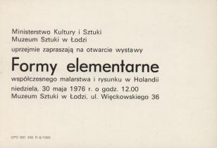 [Zaproszenie] Formy elementarne współczesnego malarstwa i rysunku w Holandii [...]