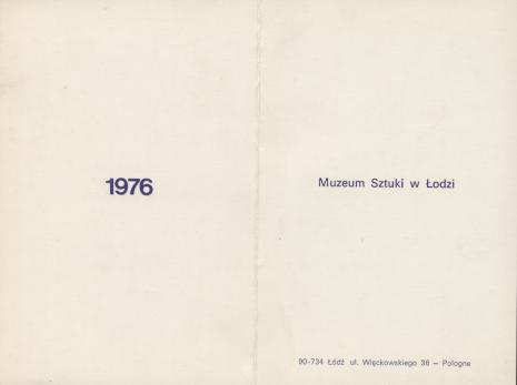 [Druk promocyjny]  Muzeum Sztuki w Łodzi 1972. Dosiego Roku [...]