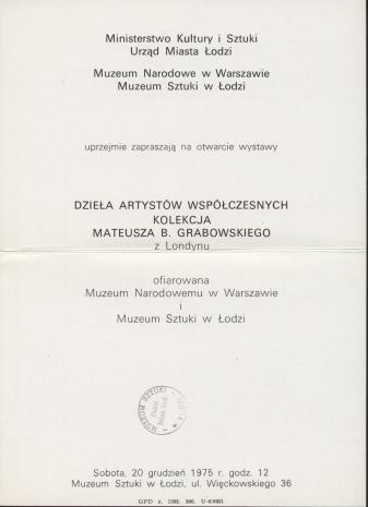 [Zaproszenie] Dzieła artystów współczesnych. Kolekcja Mateusza B. Grabowskiego [...]