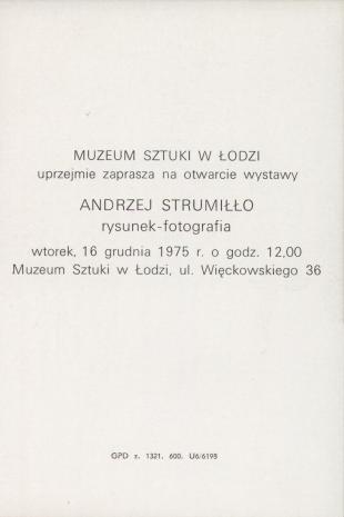 [Zaproszenie] Andrzej Strumiłło. rysunek-fotografia