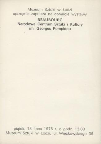 [Zaproszenie] Beaubourg. Narodowe Centrum Sztuki i Kultury im. Georges Pompidou [...]