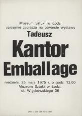 [Zaproszenie] Tadeusz Kantor Emballage [...]
