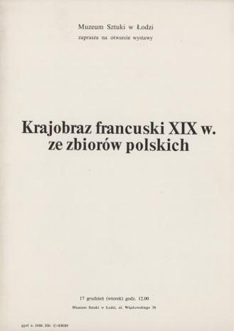 [Zaproszenie] Krajobraz francuski XIX w. ze zbiorów polskich.