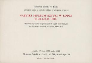 [Zaproszenie] Nabytki Muzeum Sztuki w Łodzi w 30-leciu PRL [...]