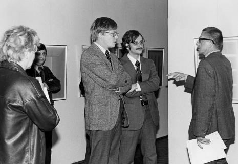 Od lewej x, red. Piotr Słowikowski (TVP Łódź), R. Williams (zastępca attache prasowego ambasady USA w Polsce), przedstawiciel ambasady USA w Polsce, dyr. Ryszard Stanisławski