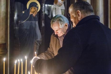 W Soborze św. Aleksandra Newskiego w Łodzi: Józef Robakowski i Dariusz Bieńkowski.
