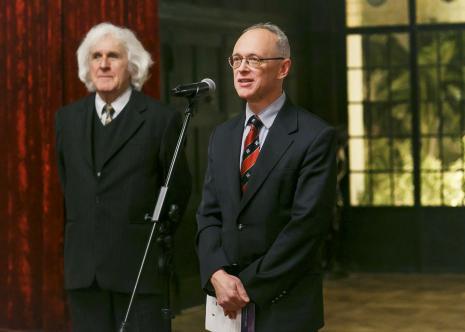 Kurator wystawy Janusz Wałek i dr hab. Marian Wołkowski-Wolski (Prezes Zarządu Fundacji Książąt Czartoryskich)