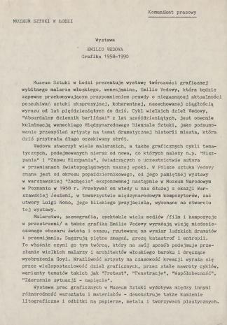 [Komunikat prasowy] Wystawa Emilio Vedova Grafika 1958-1990