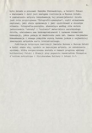 [Komunikat prasowy] Pokaz Daniela Burena w Muzeum Sztuki