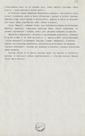 [Komunikat prasowy] Wystawa prac Magdaleny Abakanowicz