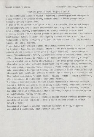 [Komunikat prasowy] Wystawa Josepha Beuysa w Tokio