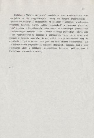 [Komunikat prasowy] Wystawa prac Zofii Lipeckiej Natura odzwierciedlona - Nature réfléchie