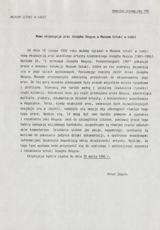 [Komunikat prasowy] Nowa ekspozycja prac Josepha Beuysa w Muzeum Sztuki w Łodzi