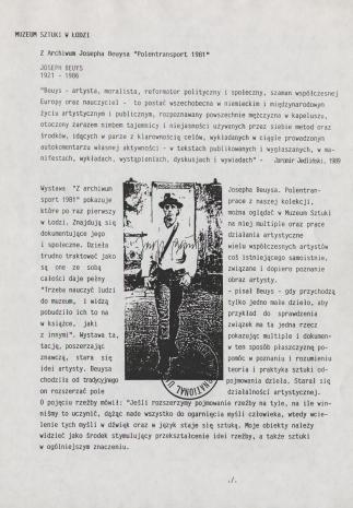 [Komunikat prasowy] Z Archiwum Josepha Beuysa