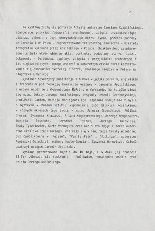 [Komunikat prasowy] Jerzy Kosiński. Twarz i maski. Fotografie Czesława Czaplińskiego.