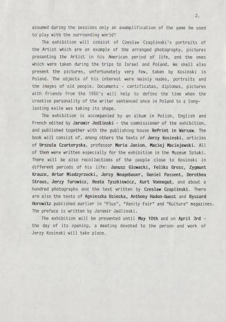 [Komunikat prasowy] Exhibition Jerzy Kosiński. The Face and The Mask. Photographs of Czeslaw Czaplinski.