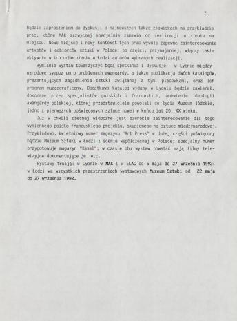 [Komunikat prasowy] Wymiana wystaw - Lyon - Łódź, maj-wrzesień 1992.