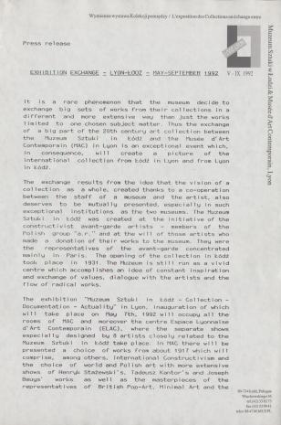 [Komunikat prasowy] Exhibition exchange - Lyon-Łódź - May-September 1992.