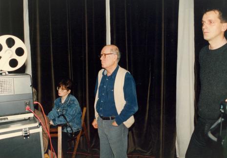 Od lewej Danuta Pośpiech, Dani Karvan, Dariusz Bugalski (Dział Naukowo - Oświatowy)