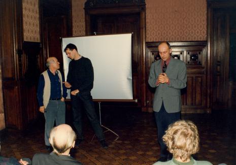Od lewej Dani Karvan, Dariusz Bugalski (Dział Naukowo - Oświatowy), dyr. Jaromir Jedliński (ms)