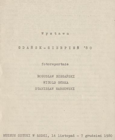[Informator] Wystawa Gdańsk - Sierpień '80 [...]