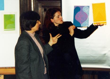 Dr Wiesława Limont (Uniwersytet im. mikołaja Kopernika w Toruniu) i Maria Brewińska (Dział Naukowo-Oświatowy)