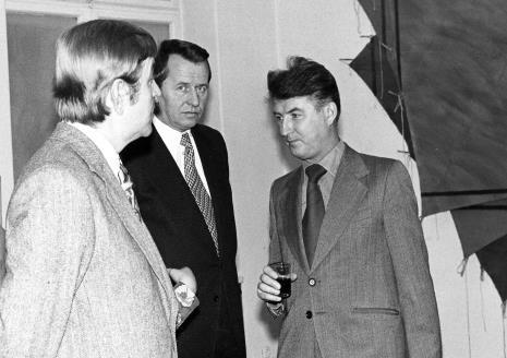 Leszek Juriewicz (wicedyrektor Departamentu Plastyki MKiS), Zbigniew Faliński (KŁ PZPR), Tadeusz Kielan (Wydział Kultury KC PZPR)