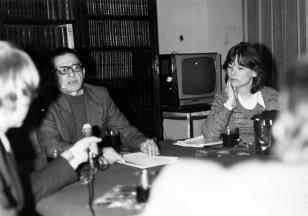 Konferencja prasowa w czytelni biblioteki Działu Dokumentacji Naukowej, dyr. Ryszard Stanisławski, Teresa Gledove (The British Council)