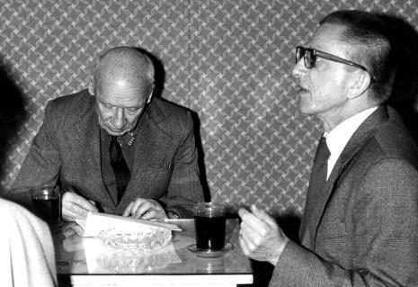 Konferencja prasowa red. Mieczysław Jagoszewski (Dziennik Łódzki) i dyr. Ryszard Stanisławski