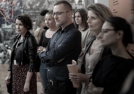 Od lewej Aleksandra Żabowska (Dział Komunikacji), Marta Skłodowska (Dział Dokumentacji Naukowej), Adam Jurek (kierownik Działu Komunikacji), Aneta Błaszczyk-Smolec (kierownik Działu Dokumentacji Naukowej)