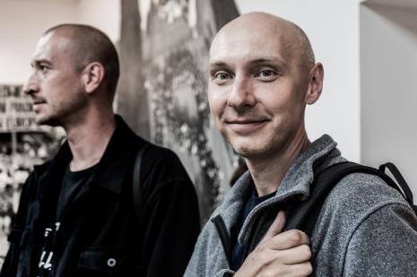 Łukasz Ogórek (ASP w Łodzi) i Tomasz Załuski (Uniwersytet Łódzki)