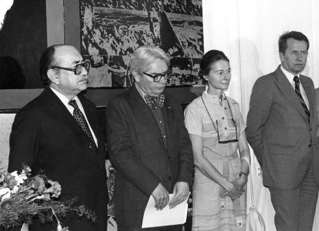 Od lewej Coldomiro Almeyda-Medina, Edmund Osmańczyk z żoną,  Zbigniew Faliński (KŁ PZPR)