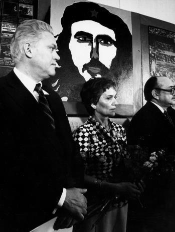 Jerzy Lorens (przewodniczący Prezydium Rady Narodowej Miasta Łodzi), pani Almeyda-Medina, Clodomiro Almeydo-Medina