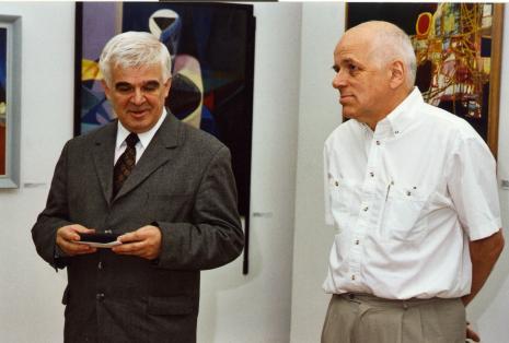 Jacek Ojrzyński (wicedyrektor ms) i kurator wystawy Janusz Zagrodzki