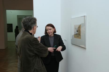 Zenobia Karnicka (Dział Sztuki Nowoczesnej) w rozmowie z Grzegorzem Musiałem i Januszem Głowackim (Galeria 86 w Łodzi)
