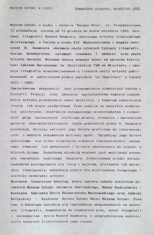 [Komunikat prasowy] Komunikat prasowy, grudzień 1992. [wystawa Honore Daumier. Litografie 1833 - 1860]
