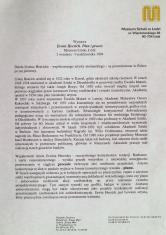 [Komunikat prasowy] Wystawa Erwin Heerich. Plan i proces, Muzeum Sztuki Łódź. 2 września - 9 października 1994.
