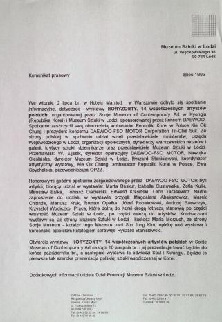 [Komunikat prasowy] Komunikat prasowy, lipiec 1996 (wystawa: Horyzonty 14 artystów polskich)