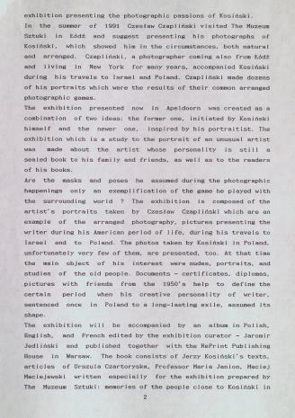 [Komunikat prasowy] Jerzy Kosiński. Twarz i maski. Fotografie Czesława Czaplińskiego w Van Reekum Museum w Appeldorn.