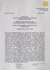 [Komunikat prasowy] Wystawa prac Marii Ewy Łunkiewicz-Rogoyskiej (1895-1967) w setną rocznicę urodzin [...]