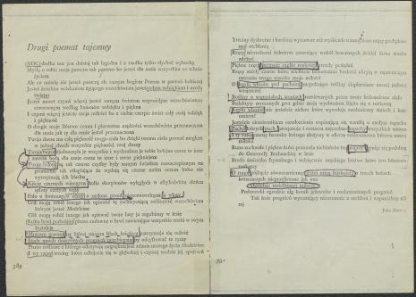 """Zbiór dokumentów Grupy Kompozytorskiej KEW (1973-77): Notatki do utworu """"Second secret poem"""", oparte na tekście """"Drugiego poematu tajemnego"""" Julii Hartwig, ok. 1975. Utwór """"Second secret poem"""" wykonany został w Kulturhuset w Sztokholmie, 7 maja 1975 roku podczas Fylkingen Internationell Musik Och Intermediafestival. Nr inw. D.S. 51_1"""