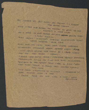"""Zbiór dokumentów Grupy Kompozytorskiej KEW (1973-77): Tekst """"Drugiego poematu tajemnego"""" Julii Hartwig, pisany przez Krzysztofa Knittela. Utwór """"Second secret poem"""" wykonany został w Kulturhuset w Sztokholmie, 7 maja 1975 roku podczas Fylkingen Internationell Musik Och Intermediafestival. Nr inw. D.S. 51_2"""