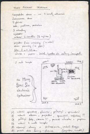 """Zbiór dokumentów Grupy Kompozytorskiej KEW (1973-77):  Notatki do utworu muzycznego pt. """"Trzeci poemat tajemny"""", lista potrzebnego sprzętu muzycznego, elektronicznego i rozmieszczenia go w przestrzeni. Nr inw. D.S. 51_3"""