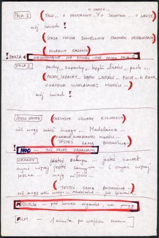 """Zbiór dokumentów Grupy Kompozytorskiej KEW (1973-77): Notatki do utworu  """"Drugi poemat tajemny"""" rozpoczynające się do słowa """"Fala 1"""". Rękopis. Utwór """"Second secret poem"""" wykonany został w Kulturhuset w Sztokholmie, 7 maja 1975 roku podczas Fylkingen Internationell Musik Och Intermediafestival. Nr inw. D.S. 51_4"""