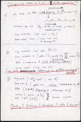 """Zbiór dokumentów Grupy Kompozytorskiej KEW (1973-77): Notatki do utworu  """"Drugi poemat tajemny"""" rozpoczynające się do słowa """"j'imagine"""". Rękopis w j. angielskim, francuskim i polskim. Utwór """"Second secret poem"""" wykonany został w Kulturhuset w Sztokholmie, 7 maja 1975 roku podczas Fylkingen Internationell Musik Och Intermediafestival. Nr inw. D.S. 51_5"""