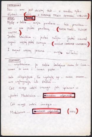 """Zbiór dokumentów Grupy Kompozytorskiej KEW (1973-77): Notatki do utworu  """"Drugi poemat tajemny"""" rozpoczynające się od słowa """"uderzenia"""". Rękopis. Utwór """"Second secret poem"""" wykonany został w Kulturhuset w Sztokholmie, 7 maja 1975 roku podczas Fylkingen Internationell Musik Och Intermediafestival. Nr inw. D.S. 51_6"""