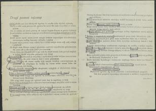 """Na dwóch stronach widoczny jest tekst w języku polskim, pisany czarną czcionką na papierze ecru. Jest to utwór autorstwa Julii Hartwig, zatytułowany """"Drugi poemat tajemny"""". Zaczyna się od słowa """"Noc"""". Poszczególne słowa podkreślone są czarnym długopisem."""