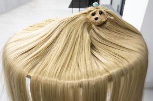 Zdjęcie figurki długowłosego psa, który leży na okrągłym stoliku. Pies jest jasny, a jego włosy są tak długie, że spływają z blatu aż poza kadr zdjęcia.
