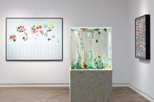 Kolorowe poziomo zorientowane zdjęcie wystawy; po prawo stoi szklane akwarium na białym postumencie; w tle na białej ścianie po lewo duża grafika; ;na ścianie po prawo kolejna oprawiona praca.